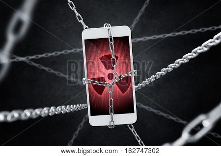 Imprisoned smartphone with encrypted data Concept of virus threat