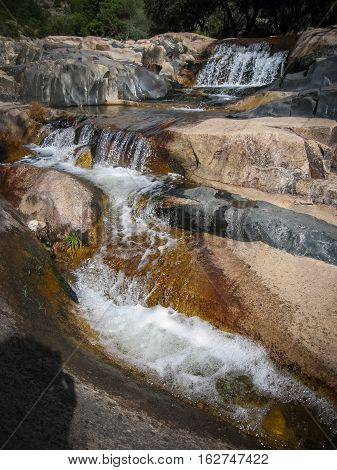River with watherfalls in Pedrisa, Comunity of Madrid, Spain