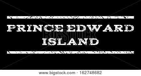 Prince Edward Island watermark stamp. Text tag between horizontal parallel lines with grunge design style. Rubber seal stamp with dirty texture. Vector white color ink imprint on a black background.