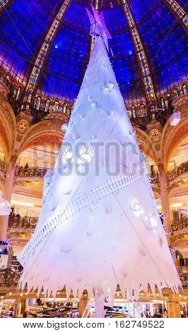 Paris France-December 20 2016 : The Christmas decoration at shopping center Galerie Lafayette located boulevard Haussmann in Paris France.