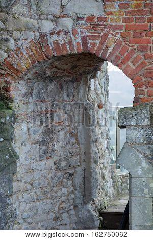 Part brick and part flint arch at Farnham castle