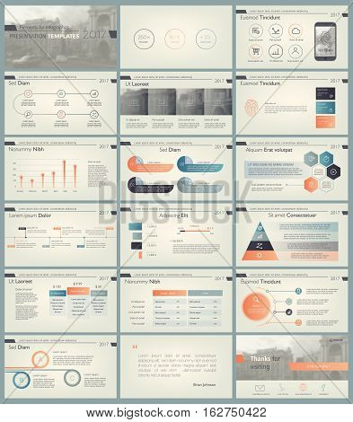 Set of retro color infographic elements for presentation templates. Leaflet, Annual report, book cover design. Brochure, layout, Flyer layout template design.
