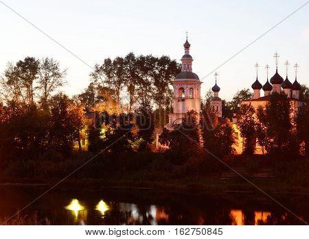 Church of St.Dimitrov Prilutsky on Navolok in Vologda at night Russia.