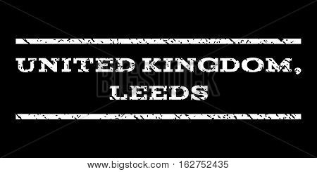 United Kingdom, Leeds watermark stamp. Text caption between horizontal parallel lines with grunge design style. Rubber seal stamp with dirty texture.