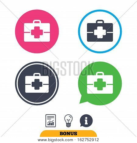 Medical case sign icon. Doctor symbol. Report document, information sign and light bulb icons. Vector