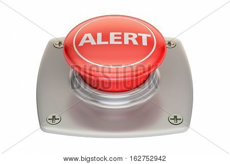 alert red button 3D rendering isolated on white background