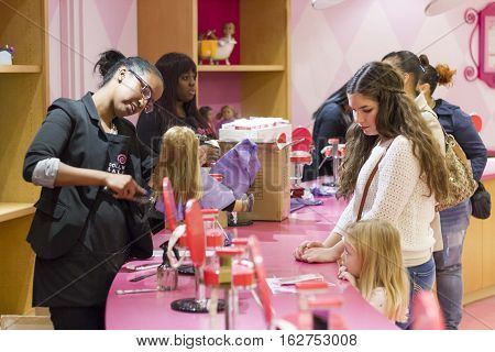 Hair Salon At The American Girl Place Store, In New York City.