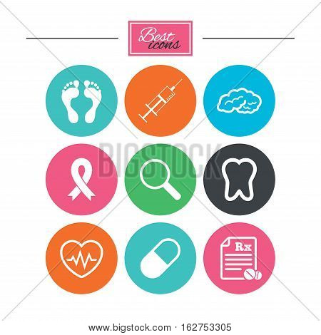 Medicine, medical health and diagnosis icons. Syringe injection, heartbeat and pills signs. Tooth, neurology symbols. Colorful flat buttons with icons. Vector