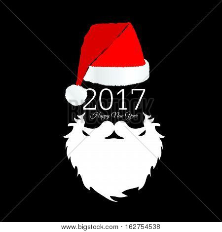 Santa Claus Head With Happy New Year Color Illustration