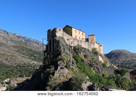 The view of Corte Citadel Corse France.