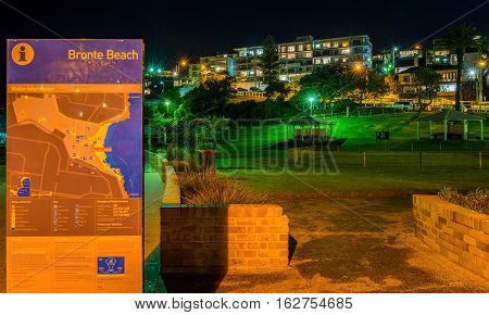 Night image of Bronte Beach Park, Sydney, New South Wales, Australia. This is a coastal public park directly in front of the popular beach. High resolution image with focus trained on the park.