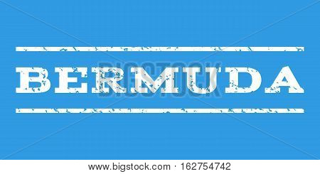 Bermuda watermark stamp. Text tag between horizontal parallel lines with grunge design style. Rubber seal stamp with dirty texture. Vector white color ink imprint on a blue background.