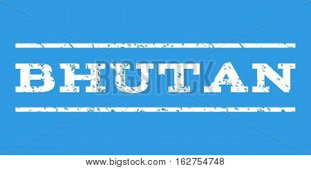 Bhutan watermark stamp. Text tag between horizontal parallel lines with grunge design style. Rubber seal stamp with dirty texture. Vector white color ink imprint on a blue background.