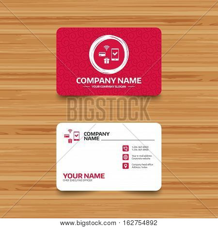 Business card template with texture. Wireless mobile payments icon. Smartphone, credit card and gift symbol. Phone, web and location icons. Visiting card  Vector