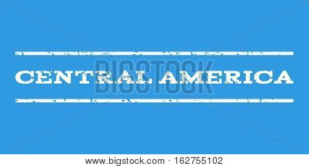 Central America watermark stamp. Text caption between horizontal parallel lines with grunge design style. Rubber seal stamp with dust texture. Vector white color ink imprint on a blue background.