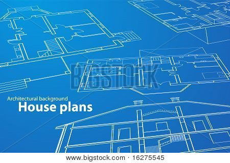vector House Plans. White outlines on blue background poster
