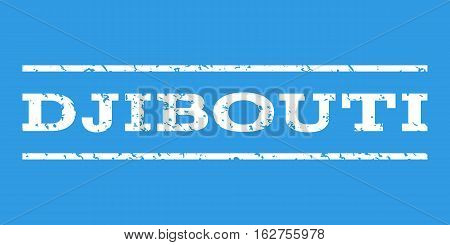 Djibouti watermark stamp. Text caption between horizontal parallel lines with grunge design style. Rubber seal stamp with dust texture. Vector white color ink imprint on a blue background.