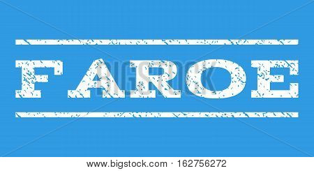Faroe watermark stamp. Text tag between horizontal parallel lines with grunge design style. Rubber seal stamp with unclean texture. Vector white color ink imprint on a blue background.