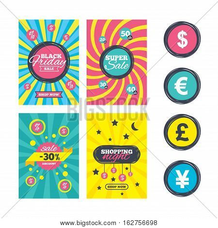 Sale website banner templates. Dollar, Euro, Pound and Yen currency icons. USD, EUR, GBP and JPY money sign symbols. Ads promotional material. Vector