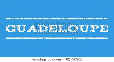 Guadeloupe watermark stamp. Text tag between horizontal parallel lines with grunge design style. Rubber seal stamp with scratched texture. Vector white color ink imprint on a blue background.