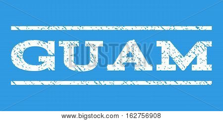 Guam watermark stamp. Text tag between horizontal parallel lines with grunge design style. Rubber seal stamp with scratched texture. Vector white color ink imprint on a blue background.