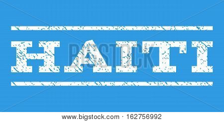 Haiti watermark stamp. Text tag between horizontal parallel lines with grunge design style. Rubber seal stamp with dirty texture. Vector white color ink imprint on a blue background.