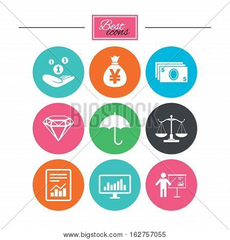 Money, cash and finance icons. Money savings, justice scales and report signs. Presentation, analysis and umbrella symbols. Colorful flat buttons with icons. Vector
