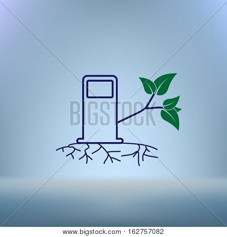 Green Bio Fuel Station Pump Icon Isolated.