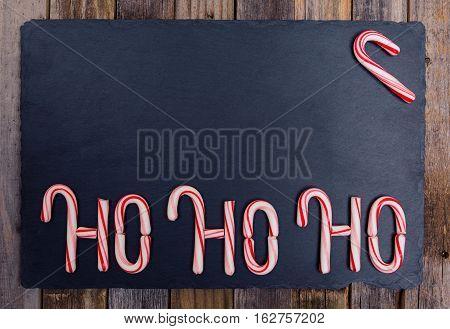 Holiday Striped Candy Cane Ho-ho-ho Text
