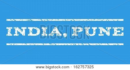 India, Pune watermark stamp. Text caption between horizontal parallel lines with grunge design style. Rubber seal stamp with scratched texture. Vector white color ink imprint on a blue background.
