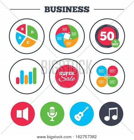 Business pie chart. Growth graph. Musical elements icons. Microphone and Sound speaker symbols. Music note and acoustic guitar signs. Super sale and discount buttons. Vector