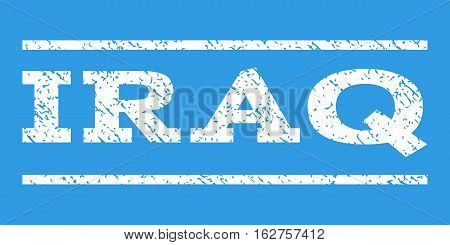 Iraq watermark stamp. Text caption between horizontal parallel lines with grunge design style. Rubber seal stamp with unclean texture. Vector white color ink imprint on a blue background.