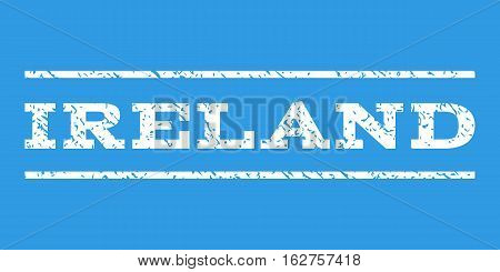 Ireland watermark stamp. Text caption between horizontal parallel lines with grunge design style. Rubber seal stamp with scratched texture. Vector white color ink imprint on a blue background.