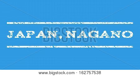 Japan, Nagano watermark stamp. Text tag between horizontal parallel lines with grunge design style. Rubber seal stamp with dust texture. Vector white color ink imprint on a blue background.