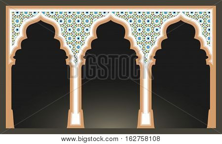 Islamic arcs with arabic mosaic pattern. Mosque columns isolated. vector illustration