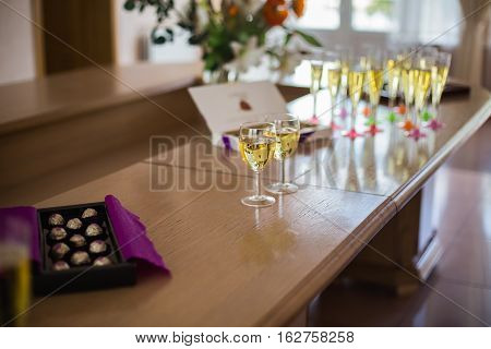 glasses of champagne on the table, wedding
