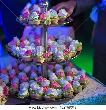 wedding cakes wedding ceremony, wedding table piled with food, banquet
