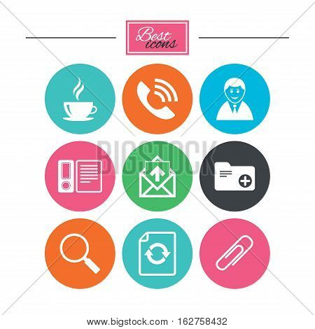 Office, documents and business icons. Coffee, phone call and businessman signs. Safety pin, magnifier and mail symbols. Colorful flat buttons with icons. Vector