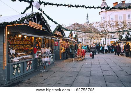KLAGENFURT AUSTRIA - DECEMBER 17: Klagenfurt christmas market on December 17 2016 in Klagenfurt Austria. Christmas in Europe.