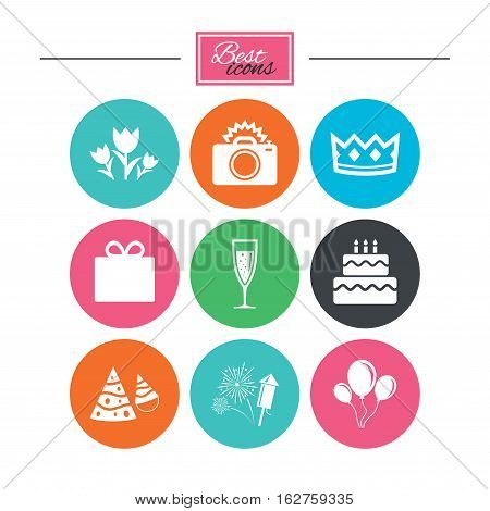 Party celebration, birthday icons. Fireworks, air balloon and champagne glass signs. Gift box, flowers and photo camera symbols. Colorful flat buttons with icons. Vector