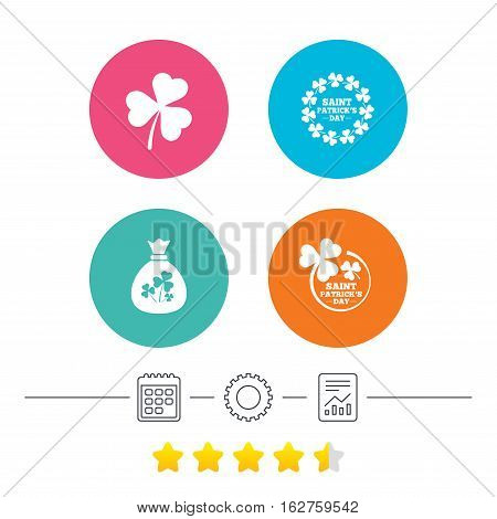 Saint Patrick day icons. Money bag with clover sign. Wreath of trefoil shamrock clovers. Symbol of good luck. Calendar, cogwheel and report linear icons. Star vote ranking. Vector