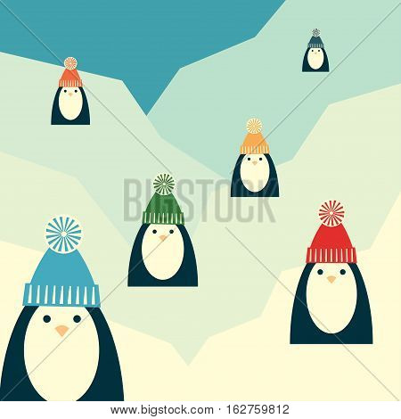 Vector retro styled illustration of six penguins in knit hats with pompoms. Square format.