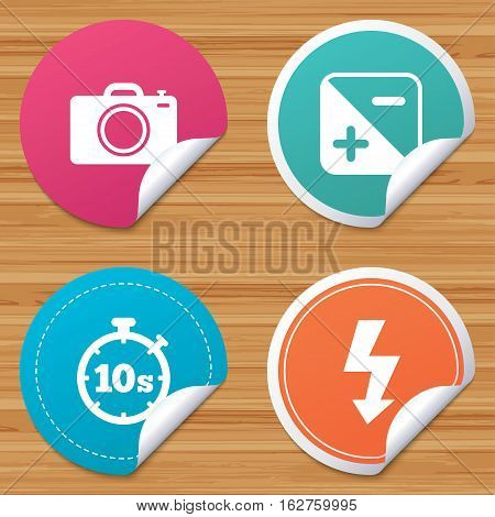 Round stickers or website banners. Photo camera icon. Flash light and exposure symbols. Stopwatch timer 10 seconds sign. Circle badges with bended corner. Vector