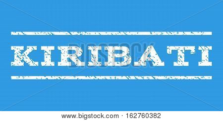 Kiribati watermark stamp. Text tag between horizontal parallel lines with grunge design style. Rubber seal stamp with scratched texture. Vector white color ink imprint on a blue background.