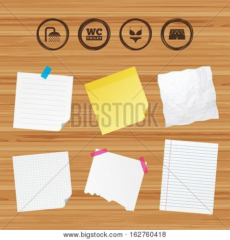 Business paper banners with notes. Swimming pool icons. Shower water drops and swimwear symbols. WC Toilet sign. Trunks and women underwear. Sticky colorful tape. Vector