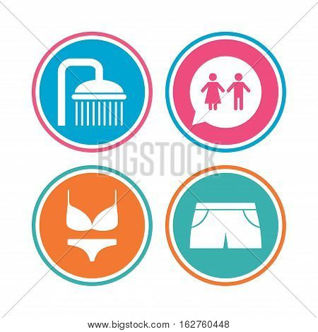 Swimming pool icons. Shower water drops and swimwear symbols. WC Toilet speech bubble sign. Trunks and women underwear. Colored circle buttons. Vector