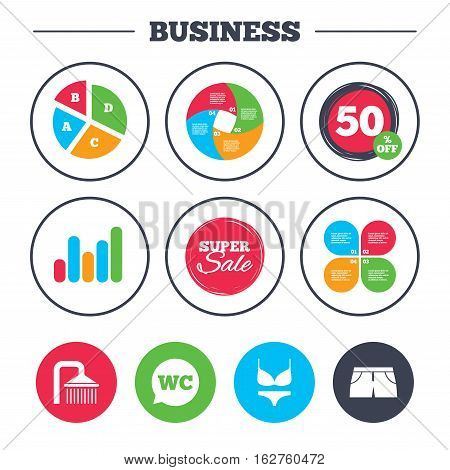 Business pie chart. Growth graph. Swimming pool icons. Shower water drops and swimwear symbols. WC Toilet speech bubble sign. Trunks and women underwear. Super sale and discount buttons. Vector