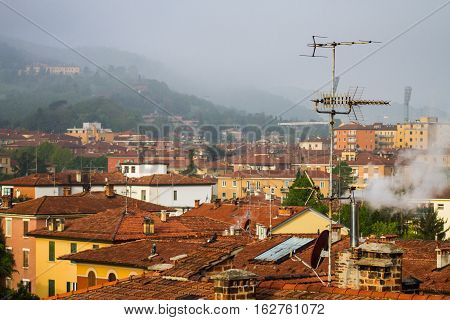 Winter on the roofs, Bologna, Italy, San Luca