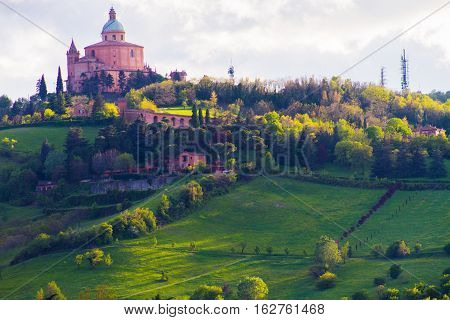 San Luca monastery from the valley, Italy