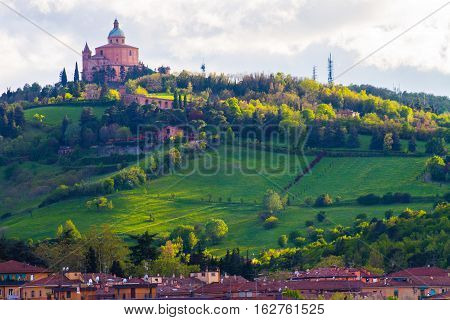 San Luca view from the bottom , Bologna, Italy